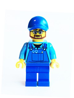 Overalls with Tools in Pocket Blue, Blue Cap with Hole, Beard and Glasses