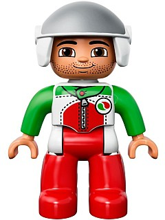 Duplo Figure Lego Ville, Male, Red Legs, Race Top with Zipper and Octan Logo, White Helmet