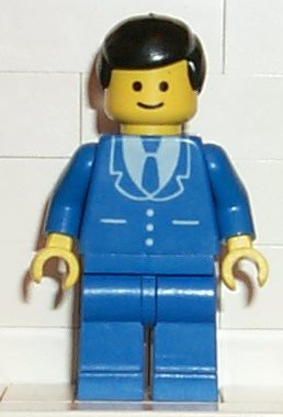 Suit with 3 Buttons Blue - Blue Legs, Black Male Hair