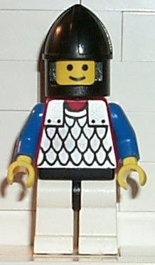 Scale Mail - Red with Blue Arms, White Legs with Black Hips, Black Chin-Guard