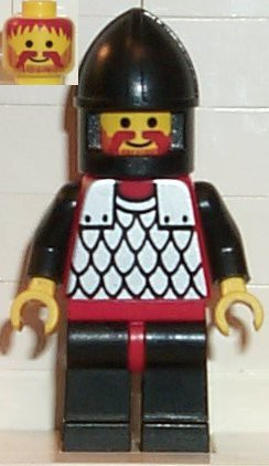 Scale Mail - Red with Black Arms, Black Legs with Red Hips, Black Chin-Guard