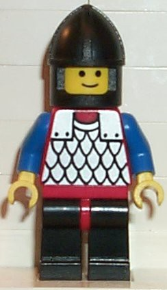 Scale Mail - Red with Blue Arms, Black Legs with Red Hips, Black Chin-Guard