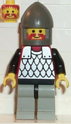 Scale Mail - Red with Black Arms, Light Gray Legs with Black Hips, Dark Gray Chin-Guard