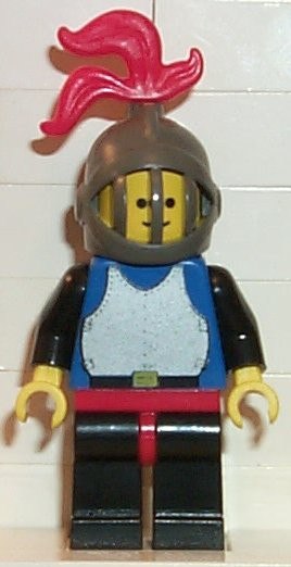 Breastplate - Blue with Black Arms, Black Legs with Red Hips, Dark Gray Grille Helmet, Red Plume, Blue Cape
