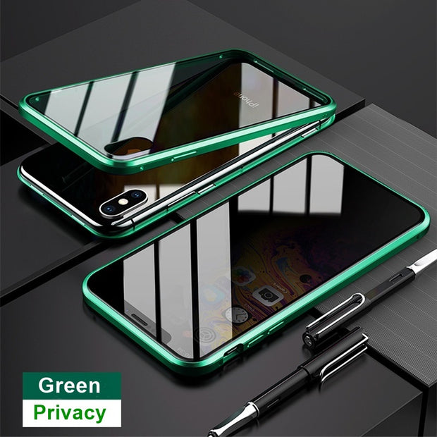 Magnetic Tempered Glass Privacy Metal Phone Case Coque 360 Magnet Antispy Protective Cover For Iphone