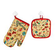 1Set Oven Mitts Christmas Baking Anti-Hot Gloves And Pad