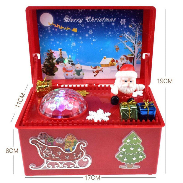 Glowing Carved Christmas Music Box with Colorful lights flashing