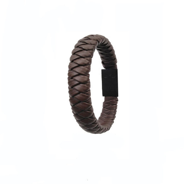 Outdoor Portable Leather Mini Type-C/8Pin/Micro USB Bracelet Charger Data Charging Cable
