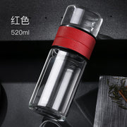 520ml Double Walled Glass Tea Cup with Tea Infuser Business Tea Glass Water Bottle for Water Portable Bottle for Man Travel