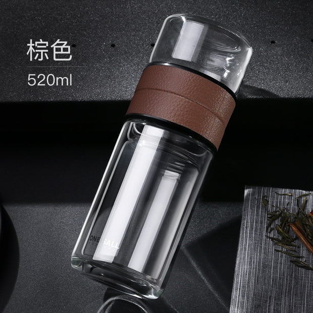 520ml Double Walled Thickened Glass Tea Cup with Infuser
