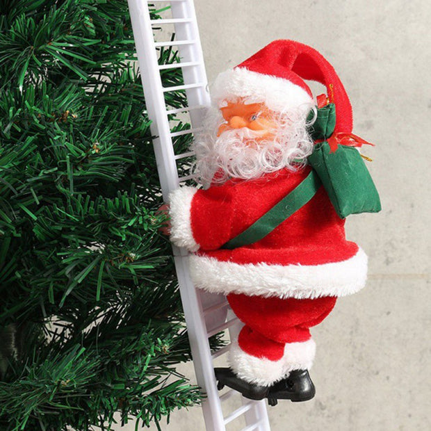 Electronic Santa Claus Climbing Ladder Christmas Ornament Decoration For Home Christmas Tree