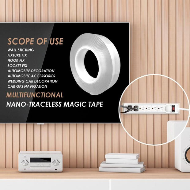 1/2/3m Double-sided Adhesive Nano Tape Traceless Washable Removable Tapes Kitchen Bathroom Living Room Portable Gel Grip Sticker