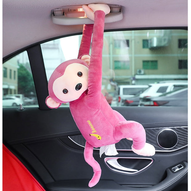 Lovely Monkey Tissue Holder Home Office Auto Automobile Car Tissue Box Cover Napkin Paper Towel Holders Cases Car Organization
