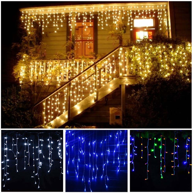 3-24M 110V LED Curtain Icicle String Fairy LED Christmas Light Garland Indoor Outdoor