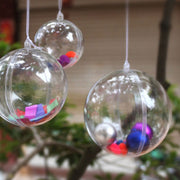 10pcs Transparent Can-Open Plastic Christmas Clear Bauble Ornament Gift 4cm
