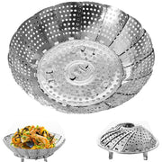 Stainless Steel Folding Steaming Plate Retractable Steamer Rack Creative Kitchen Tools