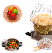Foldable Steam Rinse Strainer Stainless Steel Colander Magic Mesh Basket Drainer Frying French Fryer Tool Kitchen Cooking Basket