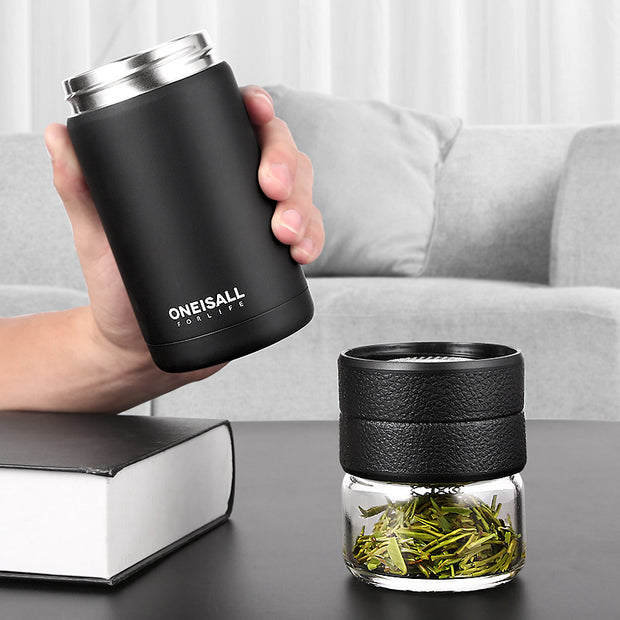 Thermos Bottle Stainless Steel Tea with Thermo Cup Glass Tea Strainer Thermos Mug 400ml + 200ml