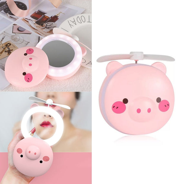 Pig Beauty Portable Led Mirror Usb Charging Mini Handheld Fan With Led Light