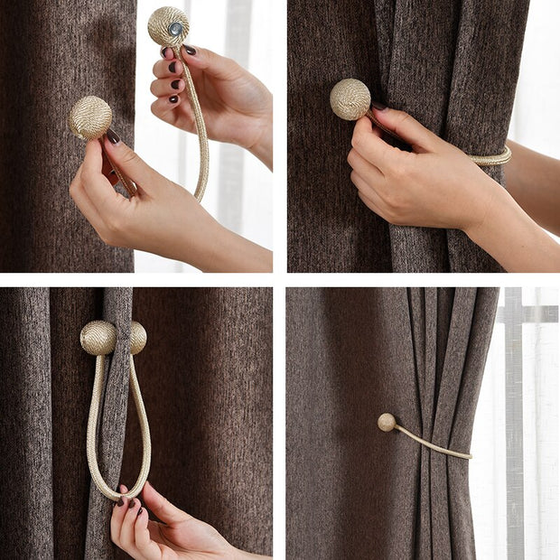 1 PC Curtain Tiebacks Strong Magnetic Decorative Drapes Tie Backs Weave Rope
