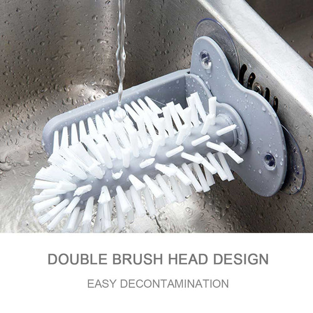 1 pcs Double Head Roller Plastic Cup Brush Scrubber Kitchen Cleaning Tool Sink Suction Cup Base Cleaning Glass Bottle Brush