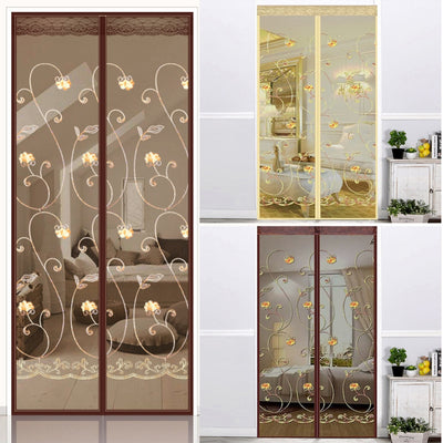 Hook Loop Fastener Embroidery Ventilate Curtains Anti Mosquito Magnetic Tulle Curtain Door Screen Magnetic Fly Screen Mesh Net