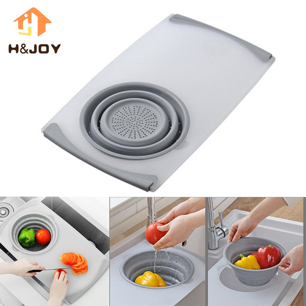 3 In 1 Food Tray Sink Drain Basket Cutting Board Filter Chopping Meat Vegetable Fruit Basket Storage Classification Blocks
