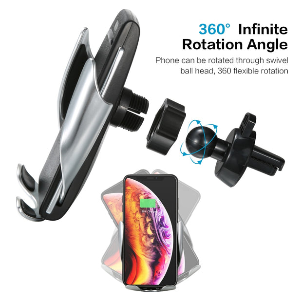 Smart Induction Car Phone Holder Wireless Charging Car Holder Bluetooth positioning Car Charger for iPhone Xs Max XR Samsung