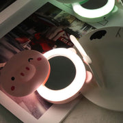 Pig Beauty Portable Led Mirror Pocket Fan Usb Charging Mini Handheld Fan With Mirror Led Light Portable Small Fan