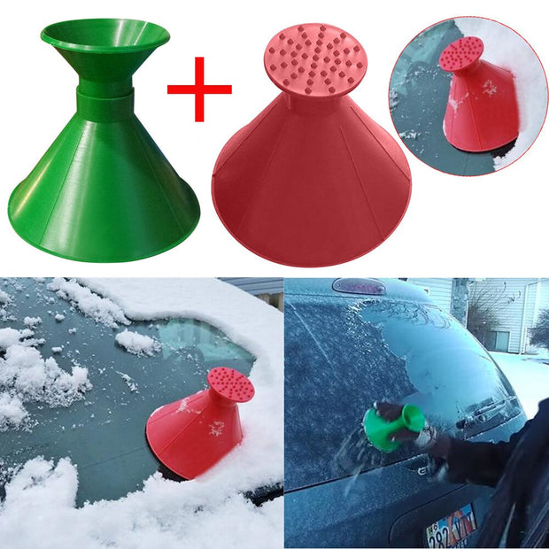 2Pc Auto Car Magic Window Windshield Car Ice Scraper Shaped Funnel Snow Remover