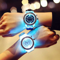 led Flash Luminous Watch Personality trends students lovers jellies woman watches 7 color light WristWatch best gift ever