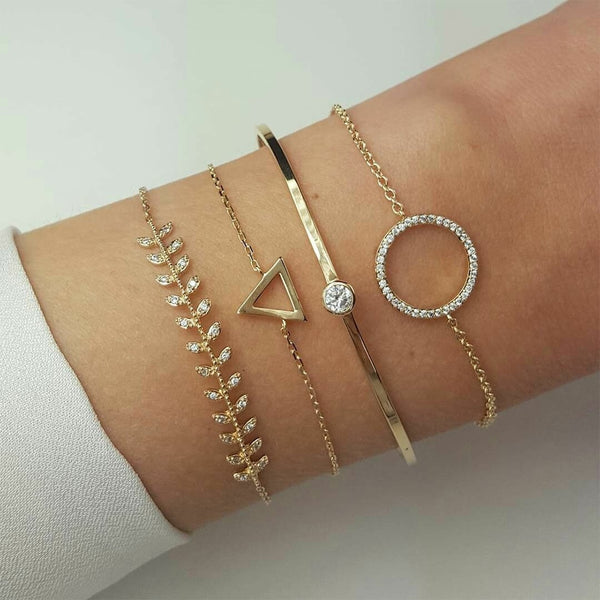 Charm 4 Pcs/set Women's Fashion Crystal Triangle Circle Leaf Chain Cute Gold Bracelet best gift ever