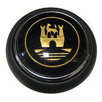 Hooter button - Wolfsburg crest - black and gold