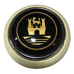Hooter button ivory - Wolfsburg crest - black and gold
