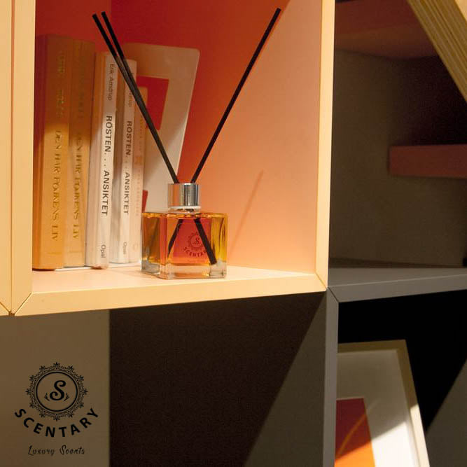 Full-size image of a reed diffuser lying on a bookshelf