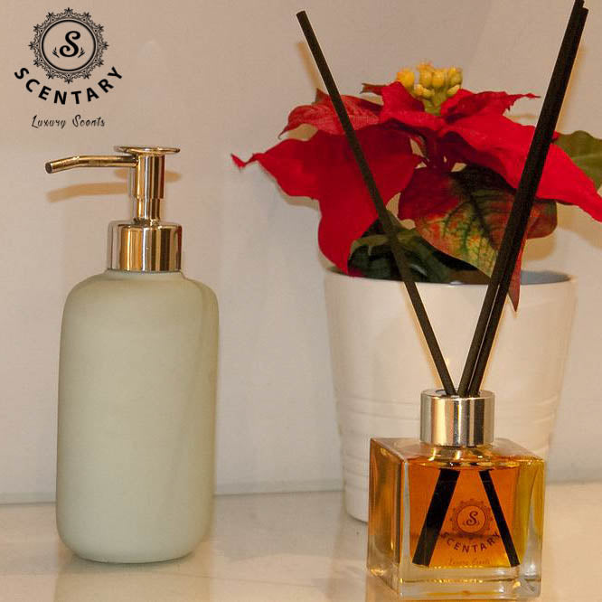 Full-size image of a reed diffuser next to a lotion bottle and miniature flower pot