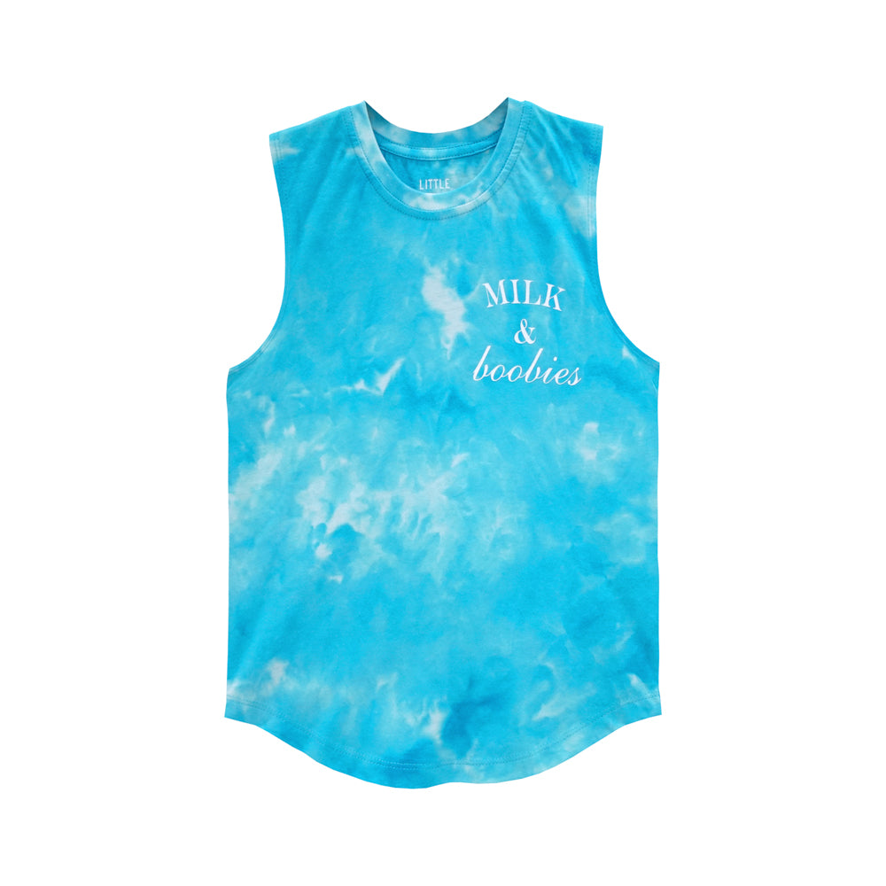 MILK AND BOOBIES BOYS MUSCLE TEE TIEDYE BLUE