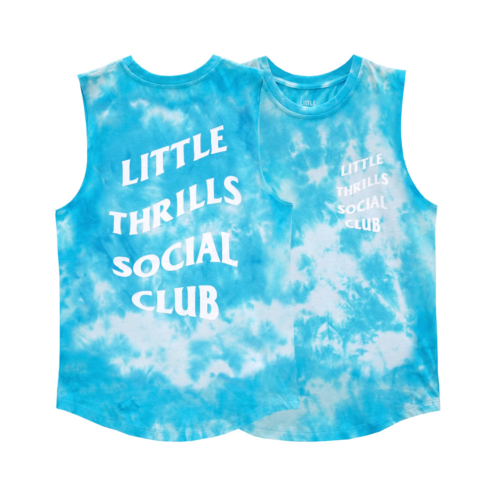 SOCIAL CLUB BOYS MUSCLE TEE TIEDYE BLUE