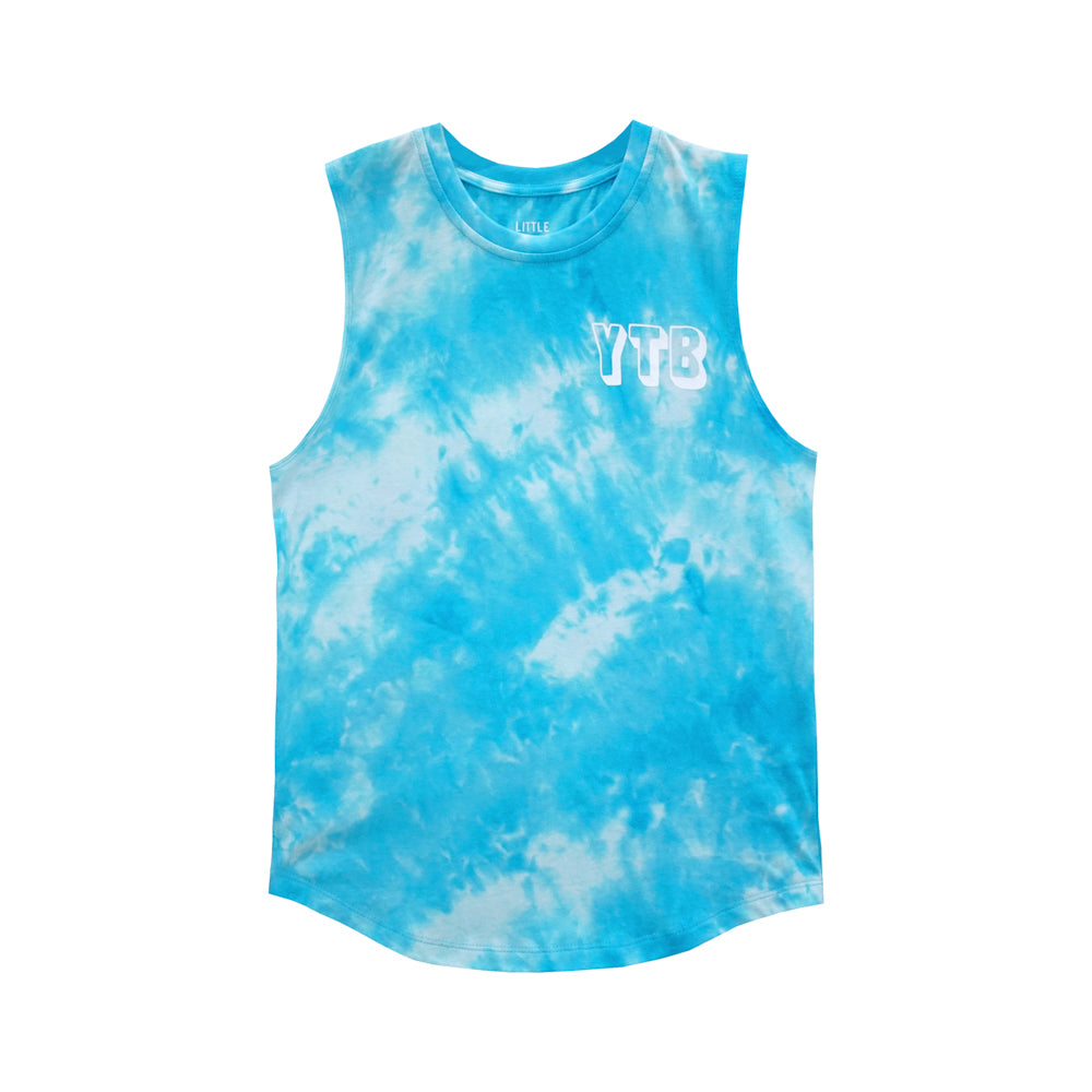 YEAH THE BOYS MUSCLE TEE TIEDYE BLUE