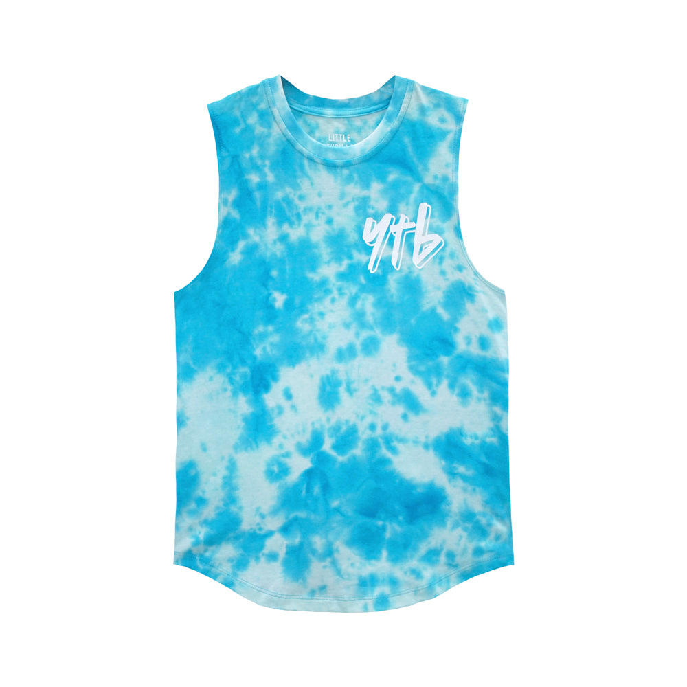 YEAH THE BOYS V2 MUSCLE TEE TIEDYE BLUE