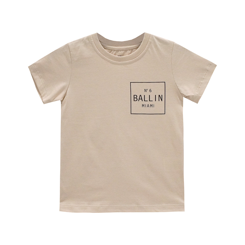 BALLIN BOYS SMALL PRINT TEE TAN