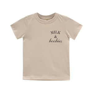 MILK AND BOOBIES BOYS SMALL PRINT TEE TAN