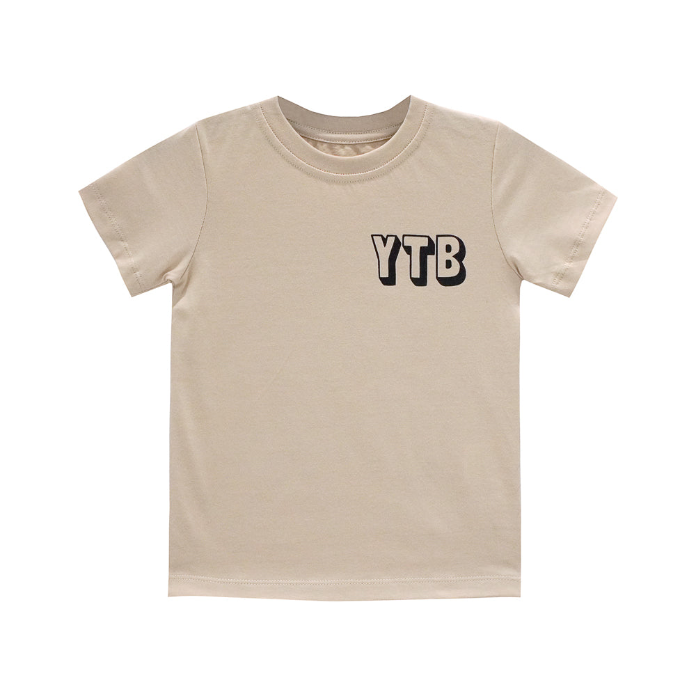 YEAH THE BOYS SMALL PRINT TEE TAN
