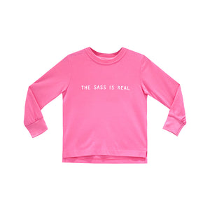 THE SASS IS REAL GIRLS LONG SLEEVE PINK