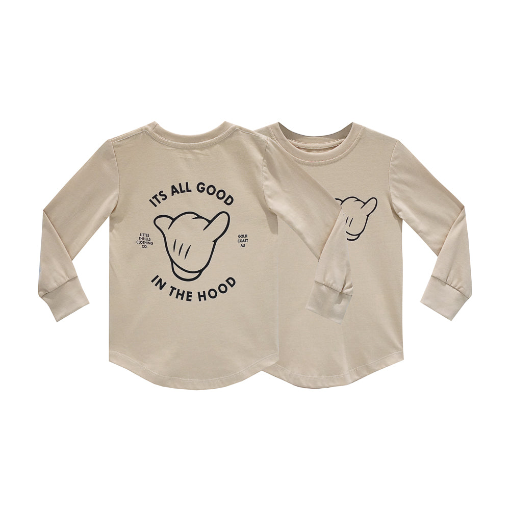 ITS ALL GOOD BOYS LONG SLEEVE TAN