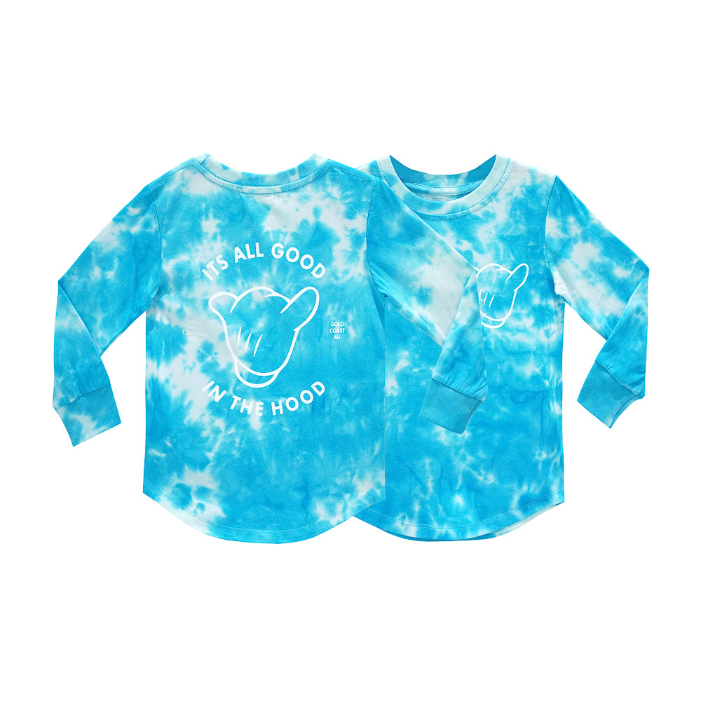 ITS ALL GOOD BOYS LONG SLEEVE TIEDYE BLUE