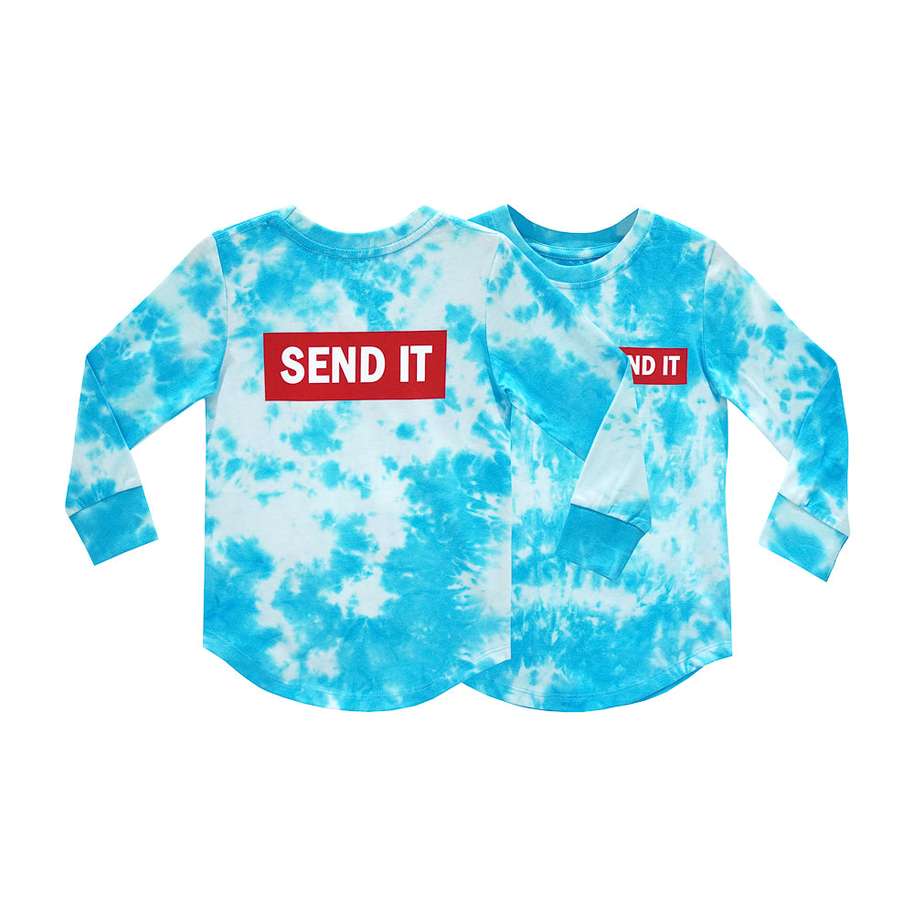 SEND IT BOYS LONG SLEEVE TIEDYE BLUE