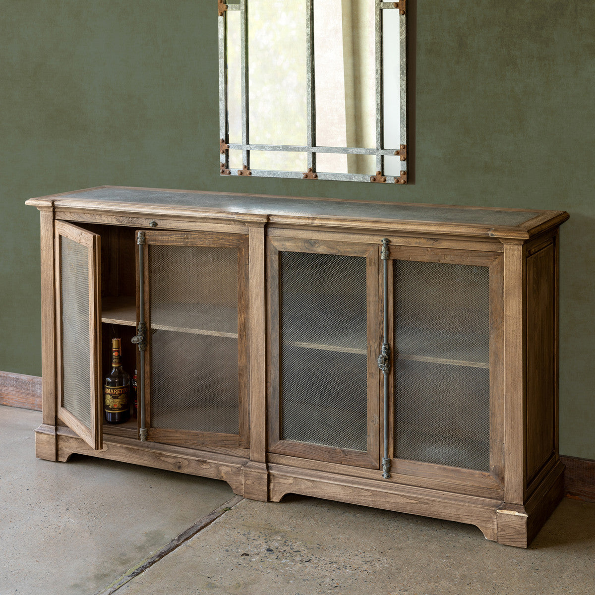 Aged Zinc Top Whiskey Cabinet