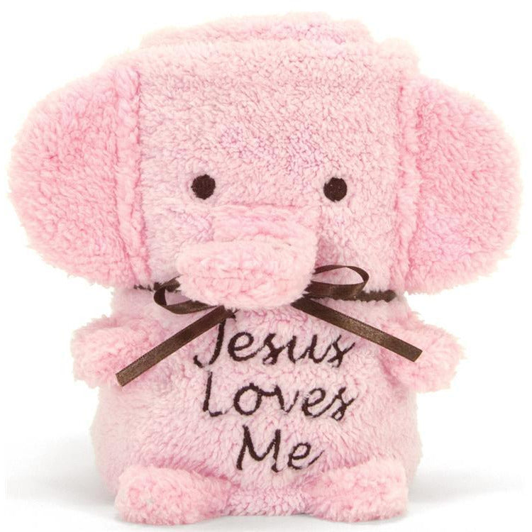 Baby Girl Jesus Loves Me Pink Elephant Blanket
