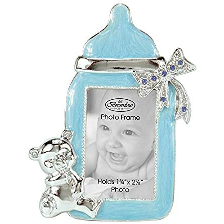 Blue Baby Bottle Photo Frame